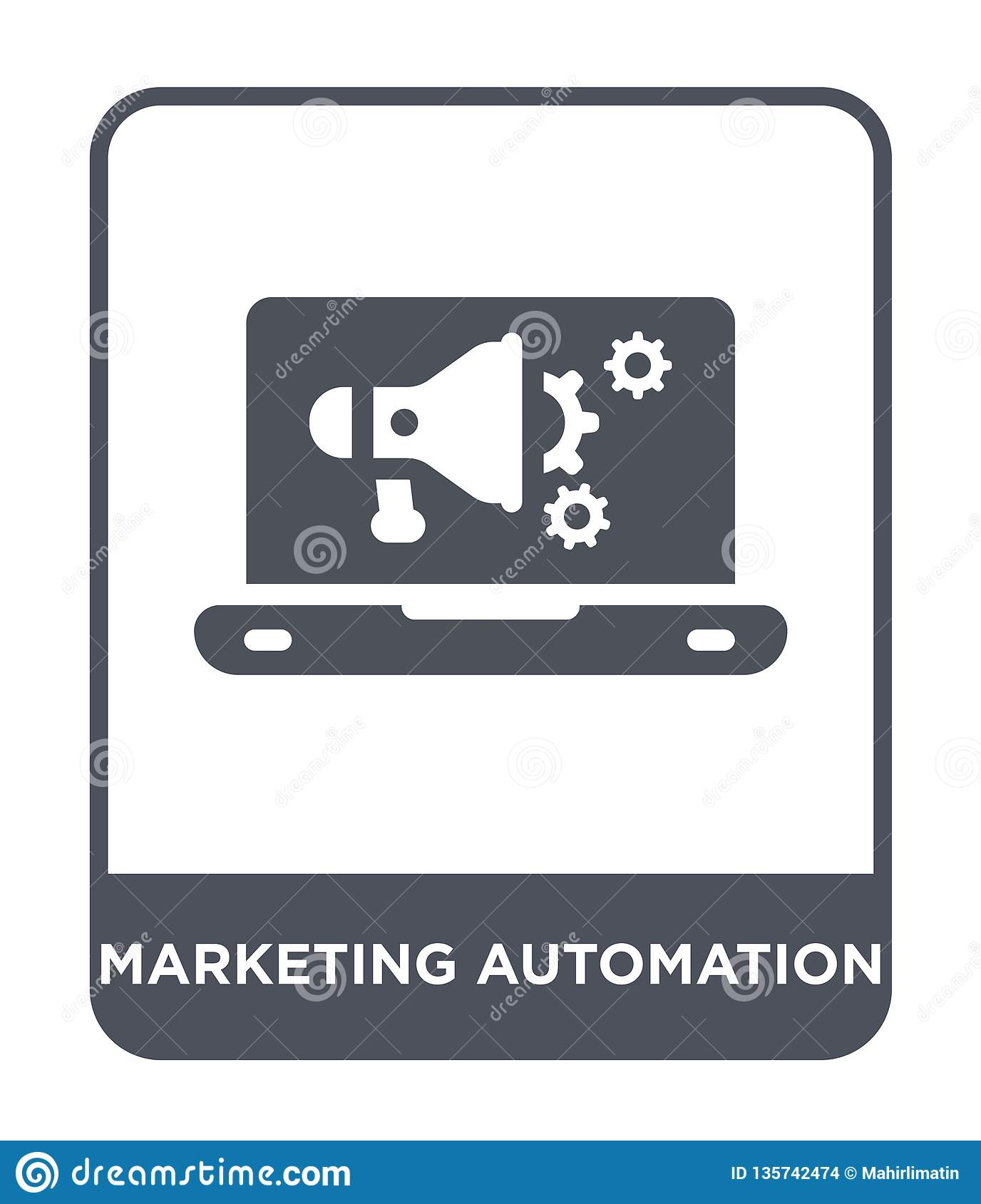 marketing automation icon in trendy design style. marketing automation icon isolated on white background. marketing automation