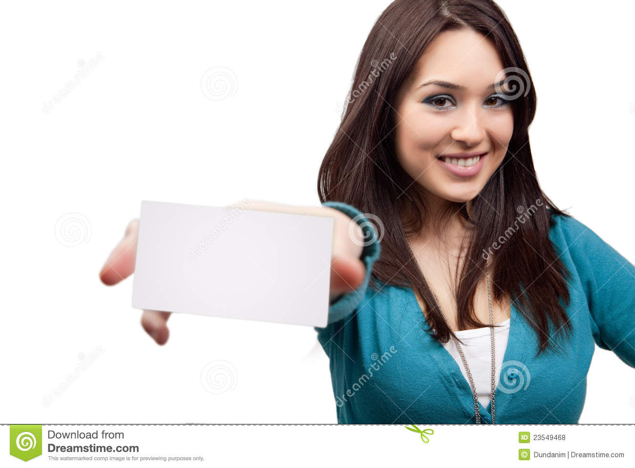 Marketing concept - woman and business card