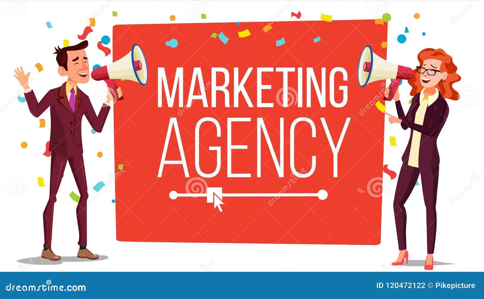Marketing de Vector van de agentschapbanner Binnenkomende, Uitgaande Marketing Banner Mannetje, Wijfje met Megafoon, Luidspreker