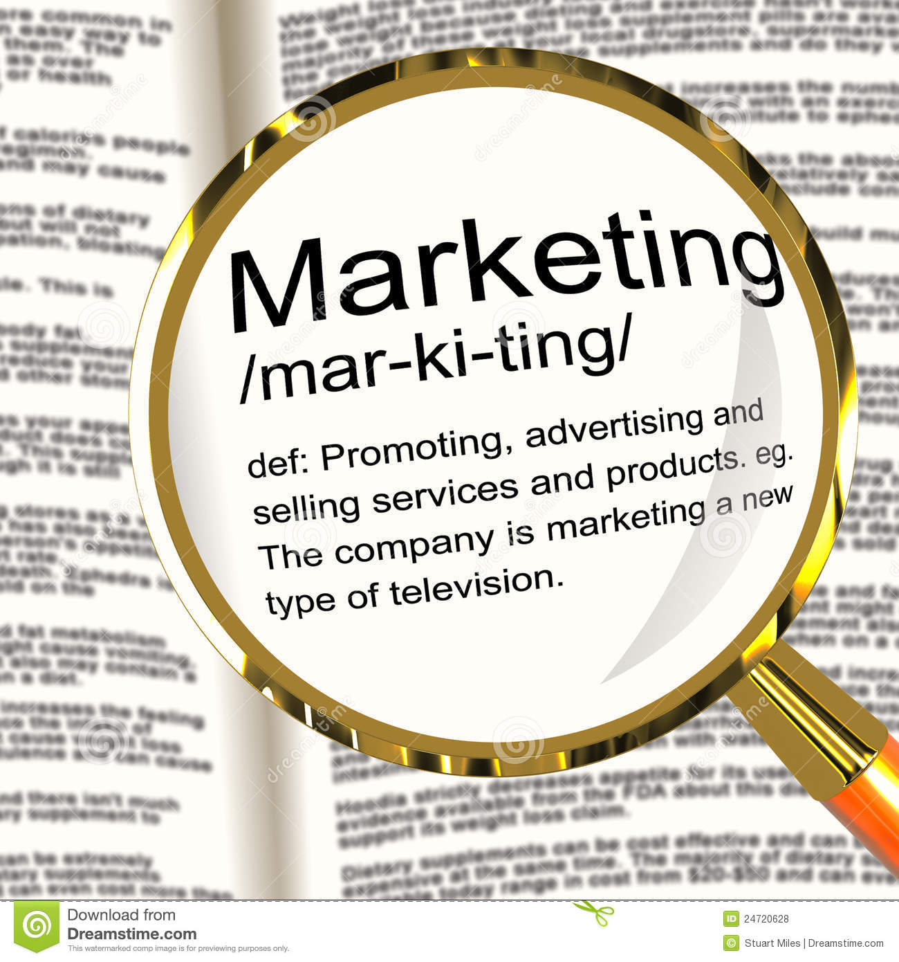 marketing definition magnifier showing promotion sales and