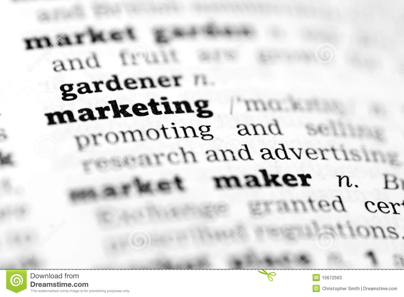 Marketing Dictionary Definition Stock Image