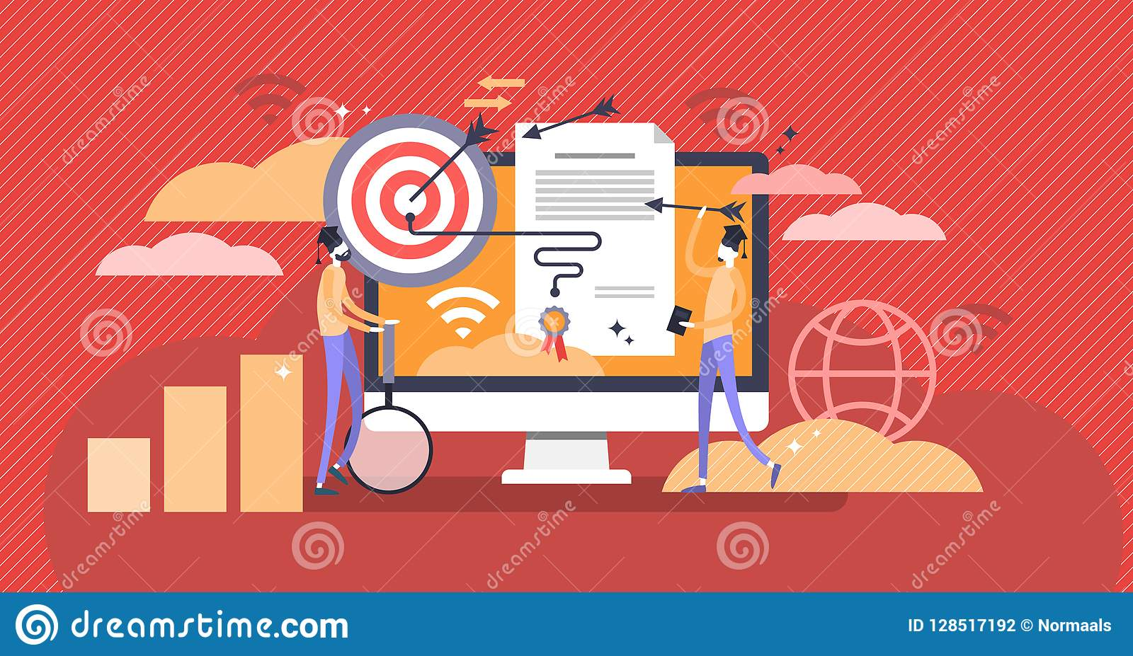 Marketing diploma and online learning concept vector illustration