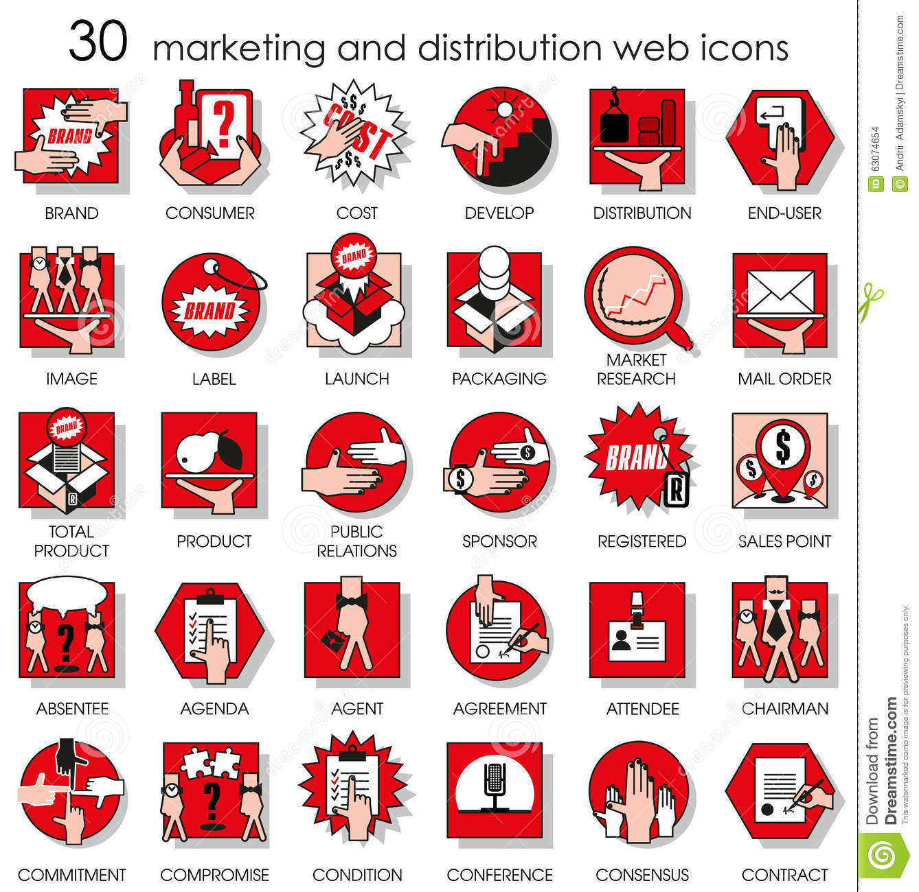 30 Marketing And Distribution Web Icons Stock Vector Illustration