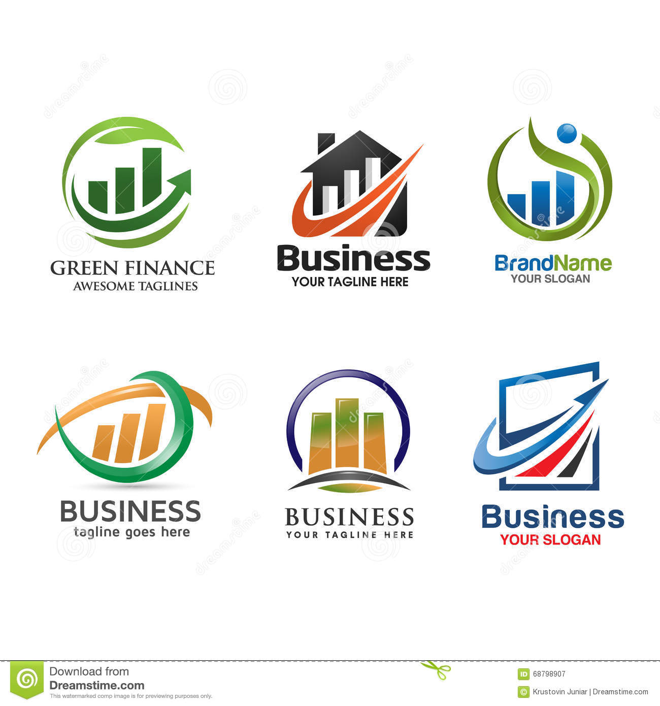 Finance: Marketing And Finance Logo Set Vector Stock Vector