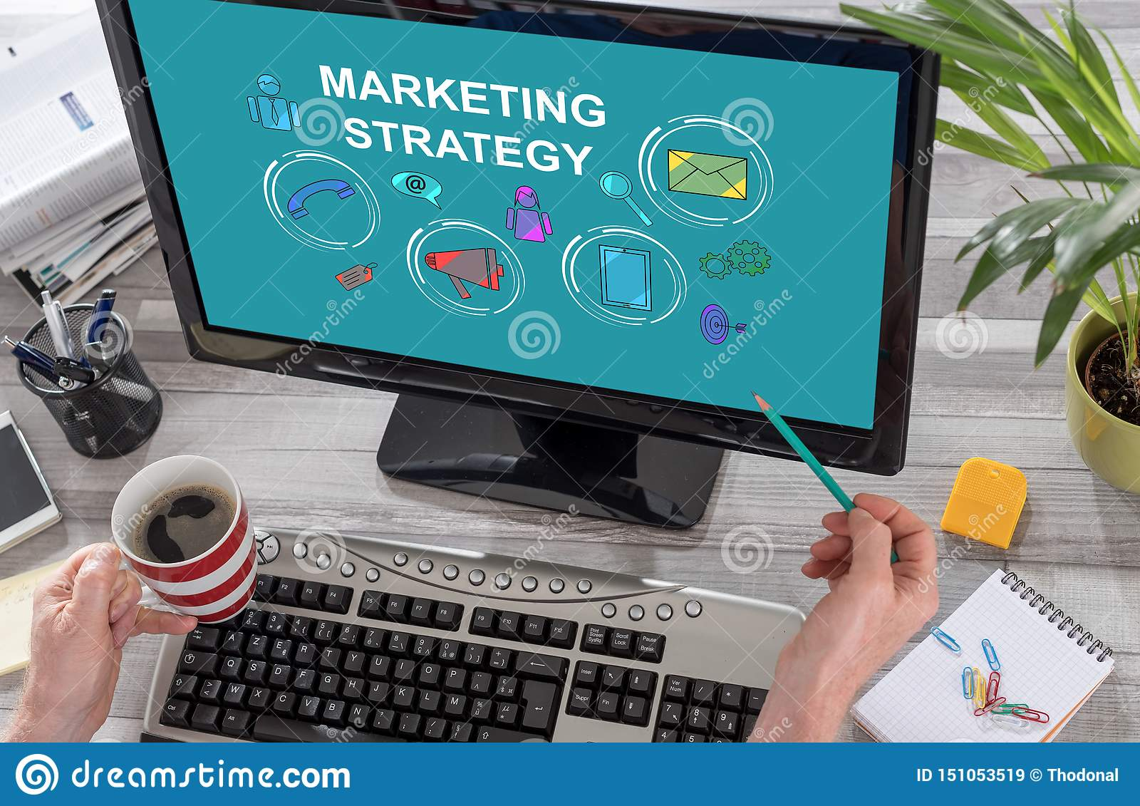 Marketing Strategy Concept On A Computer Stock Image ...