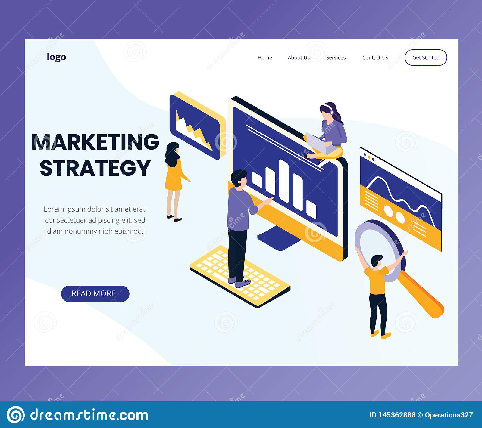 Marketing Strategy design Where people are working Isometric Artwork Concept