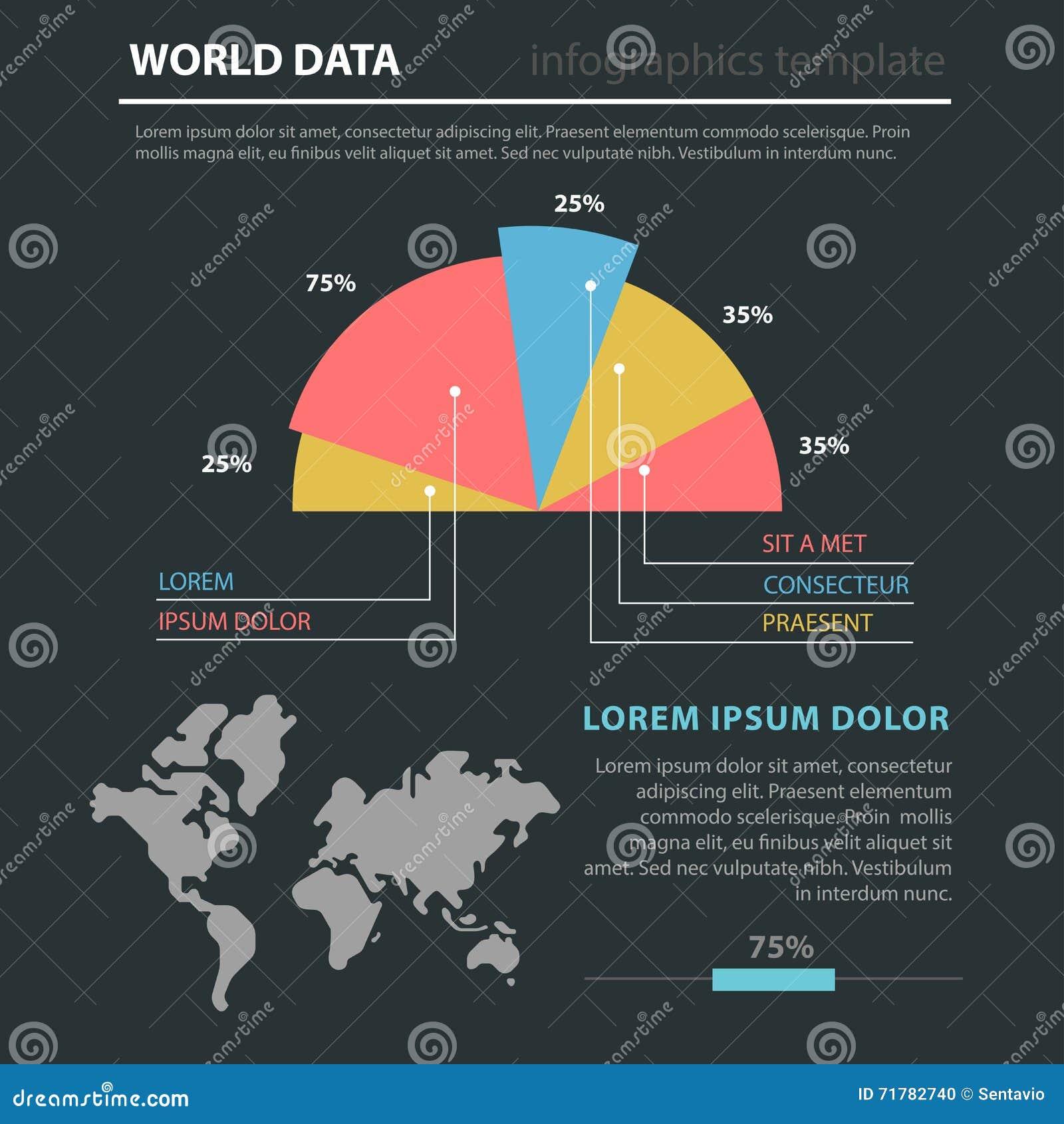 Marketing world map flat infographic diagram pie chart stock marketing world map flat infographic diagram pie chart gumiabroncs Choice Image