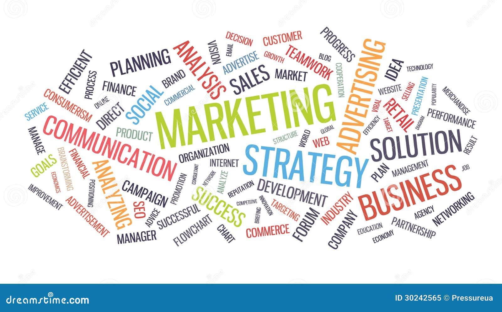 Marketingowa strategii biznesowej słowa chmura