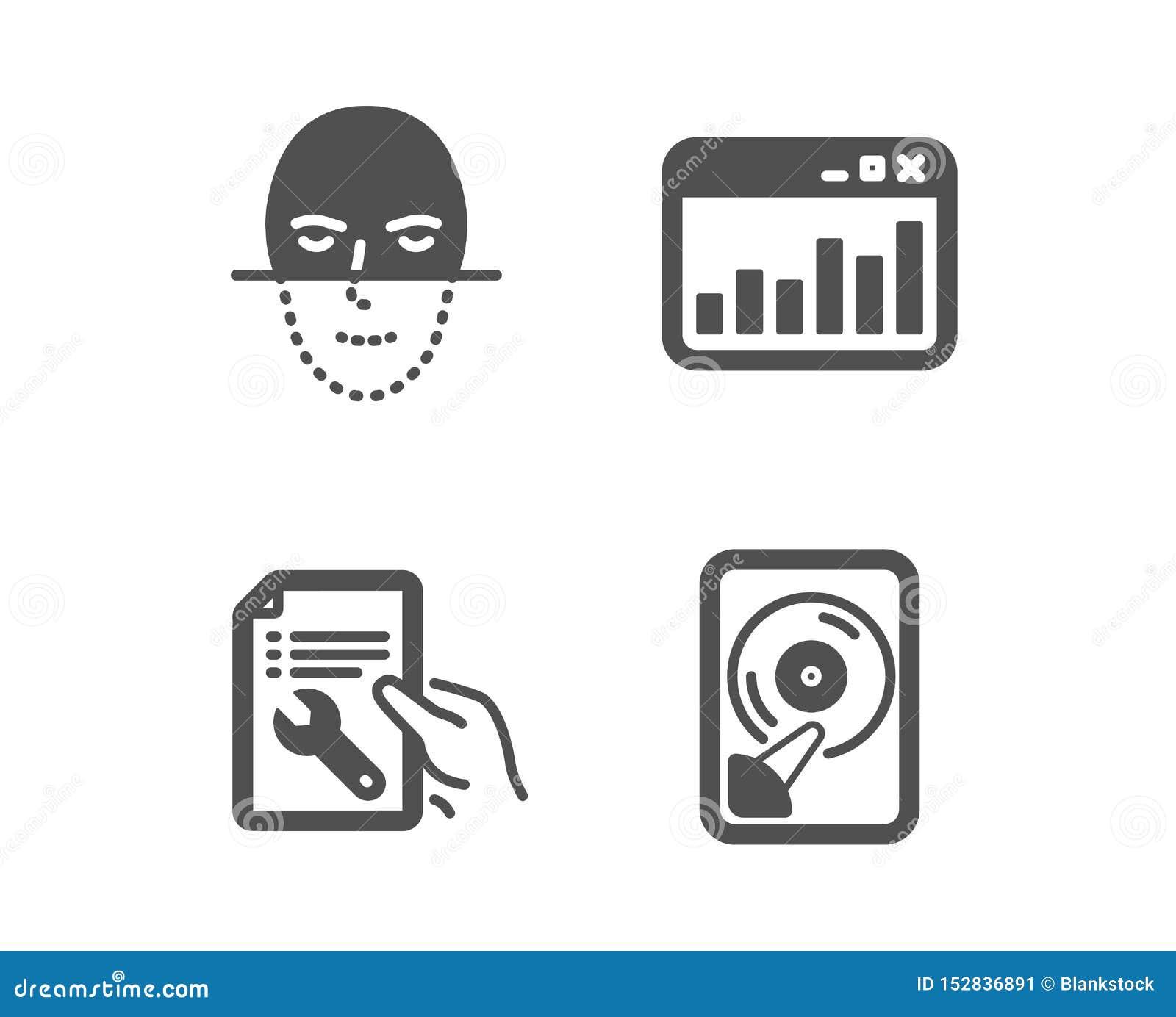 Marketingowe statystyki, twarzy rozpoznanie i naprawa dokument ikony, Hdd znak wektor