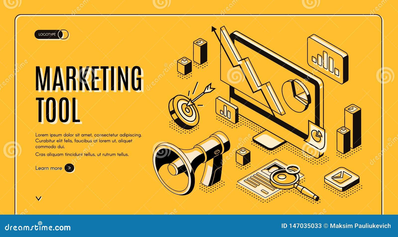 Marketingowy handel elektroniczny, dane analizy narzędzia sztandar