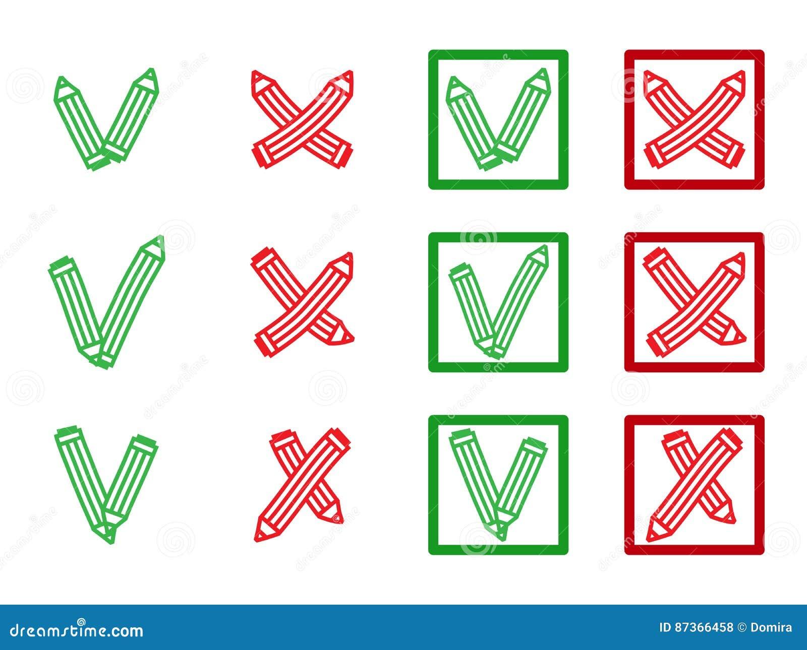 Markieren Sie X Und V In Der Form Von Bleistiften Grüne Haken ...
