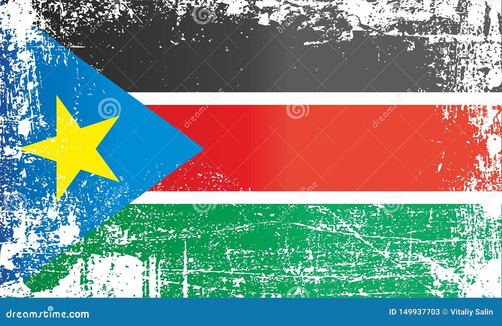 Markierungsfahne von S?dsudan Geknitterte schmutzige Stellen