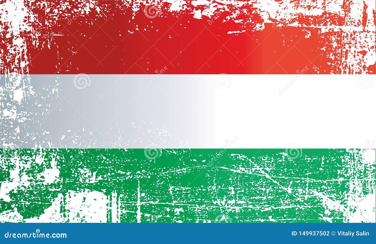 Markierungsfahne von Ungarn Geknitterte schmutzige Stellen