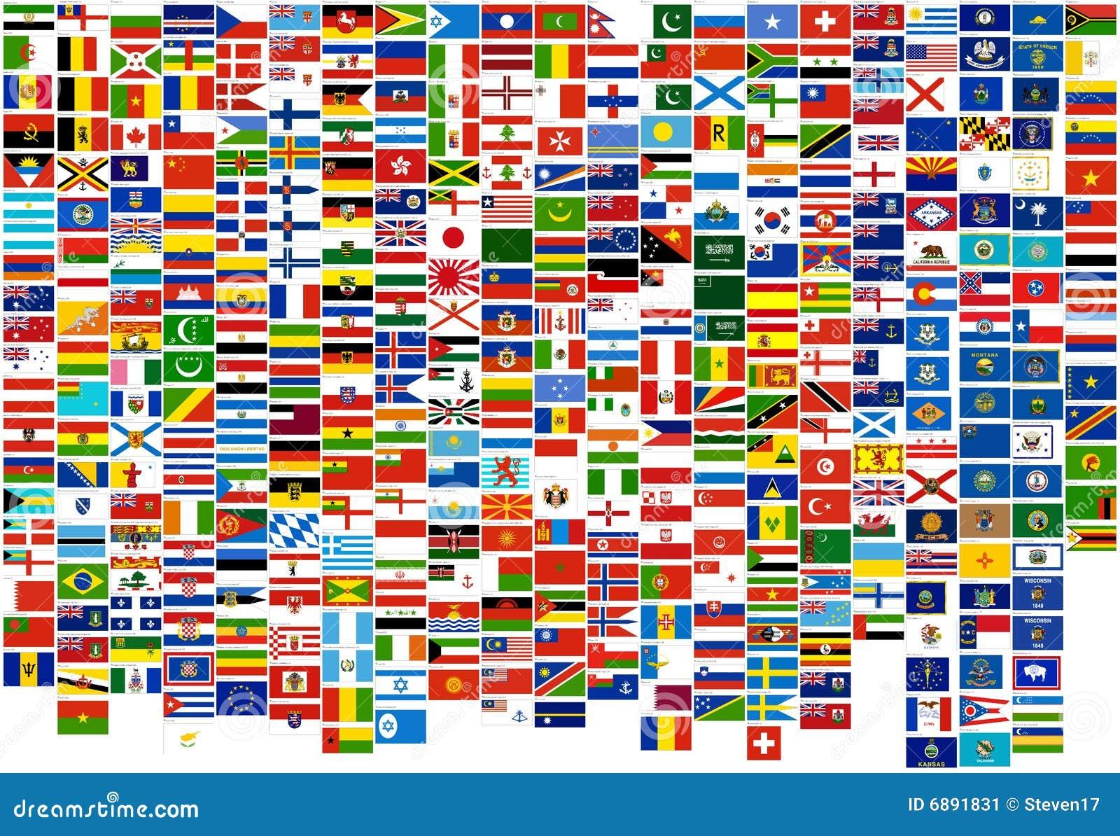 Markierungsfahnen des Weltlandes, -zustände und des -marine (Krieg, FI