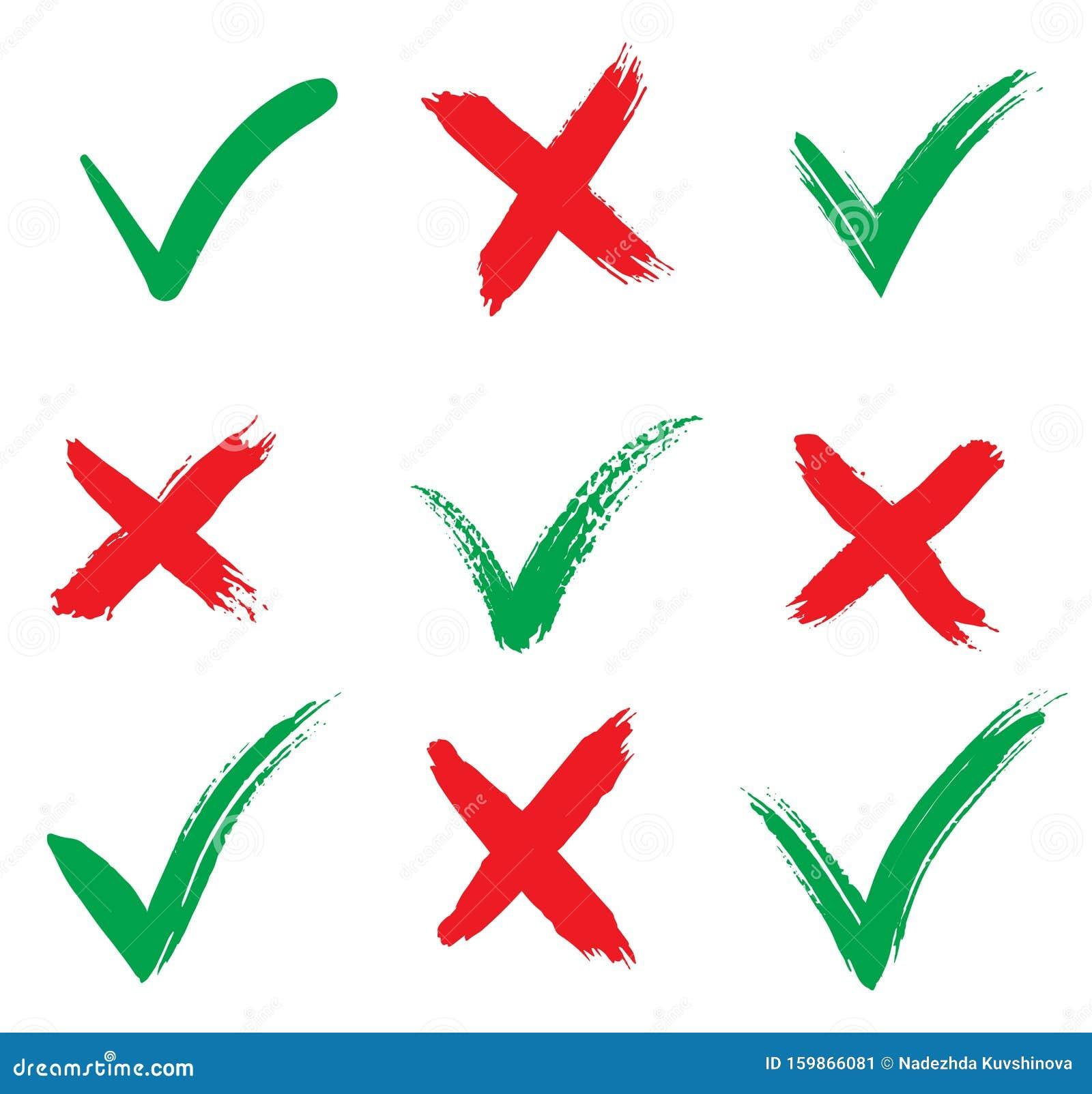 Markierungssymbole Markieren Akzeptieren Und Ablehnen Isoliert Auf ...