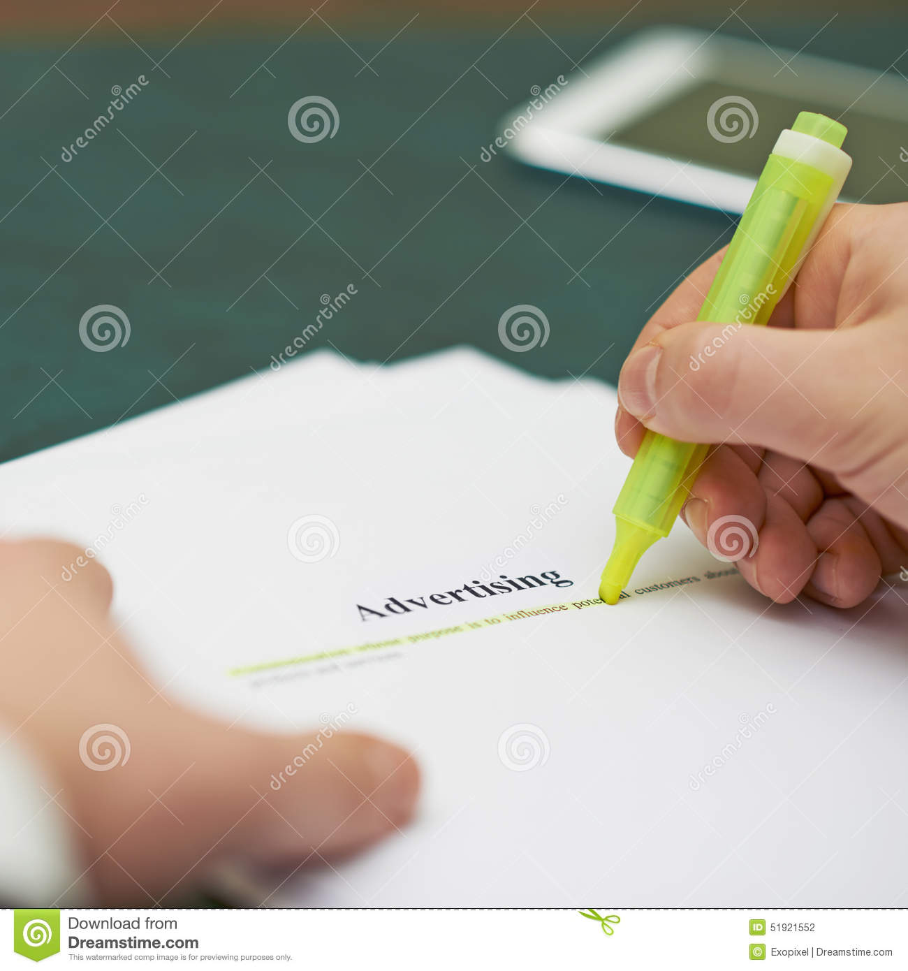 Marking Words In An Advertising Definition Stock Photo - Image of