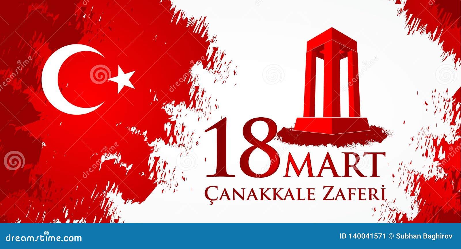 Marknad för Canakkale zaferi 18 Översättning: Turkisk nationell ferie av dagen för mars 18, 1915 den ottomanCanakkale segern