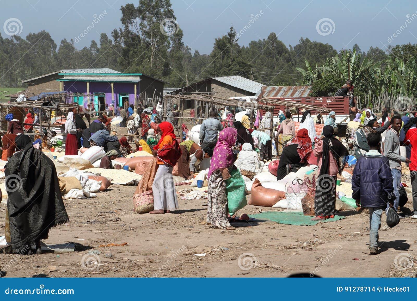 Marknadsdag på Awassa i Etiopien