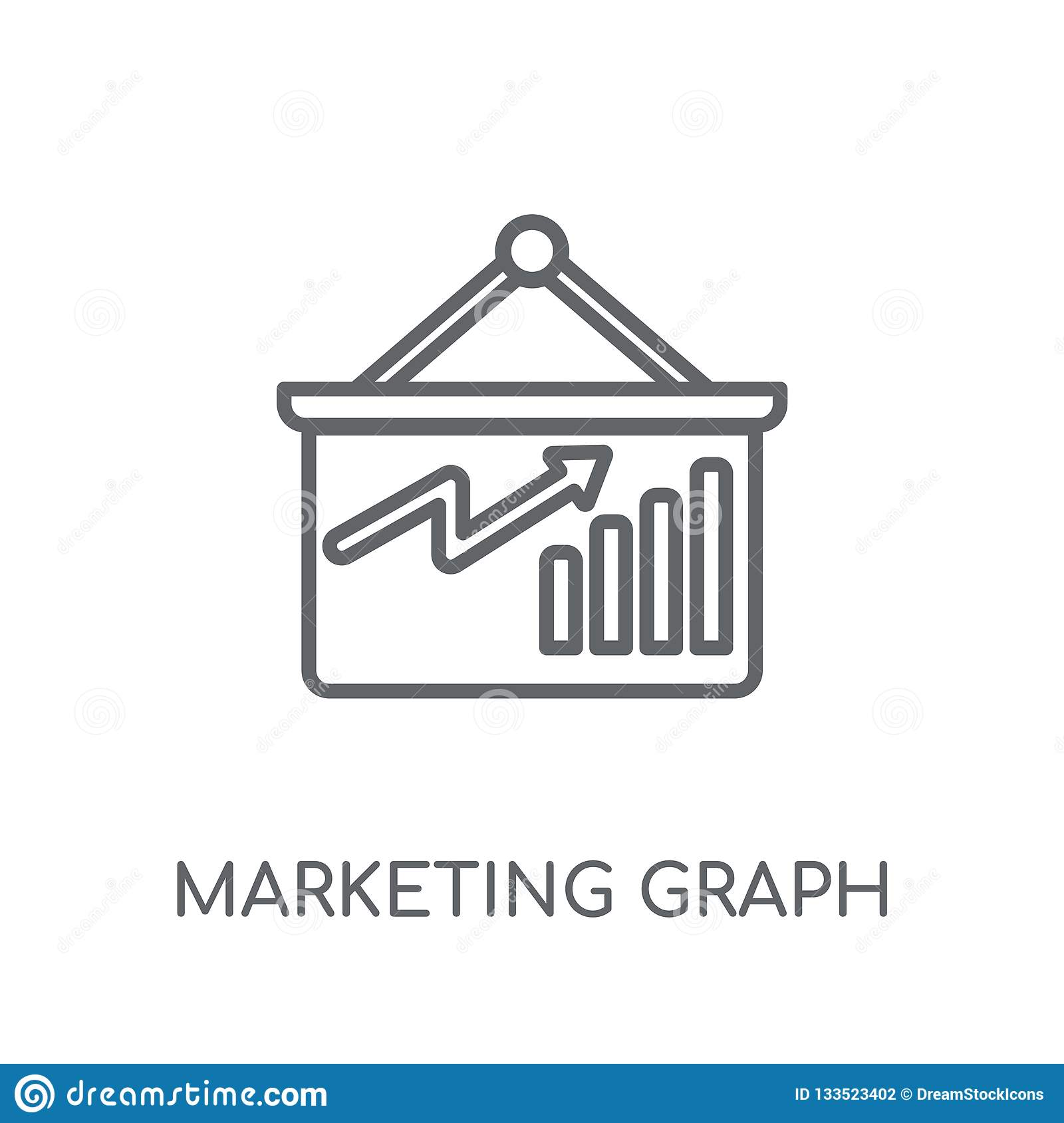 Marknadsföra den linjära symbolen för graf Modern logo för översiktsmarknadsföringsgraf