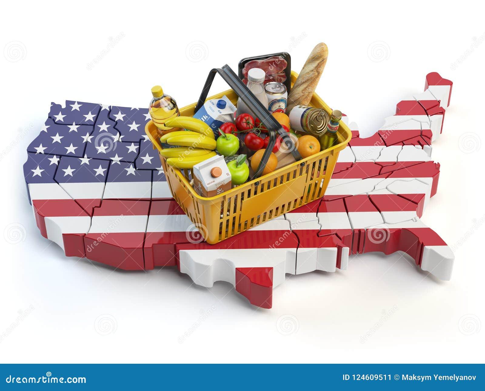Marknadskorg eller konsumentprisindex i USA Förenta staterna shoppa