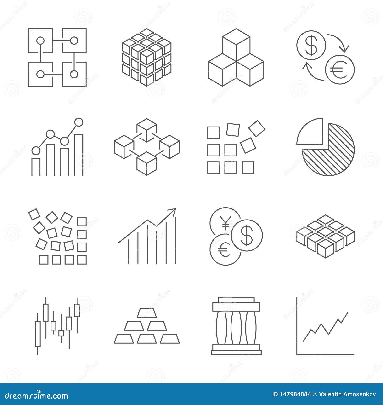 Markt-Handelsikonen-Satz Vektorlinie Ikonen Enthält Ikonen wie Börse, Handel, Geldumtausch