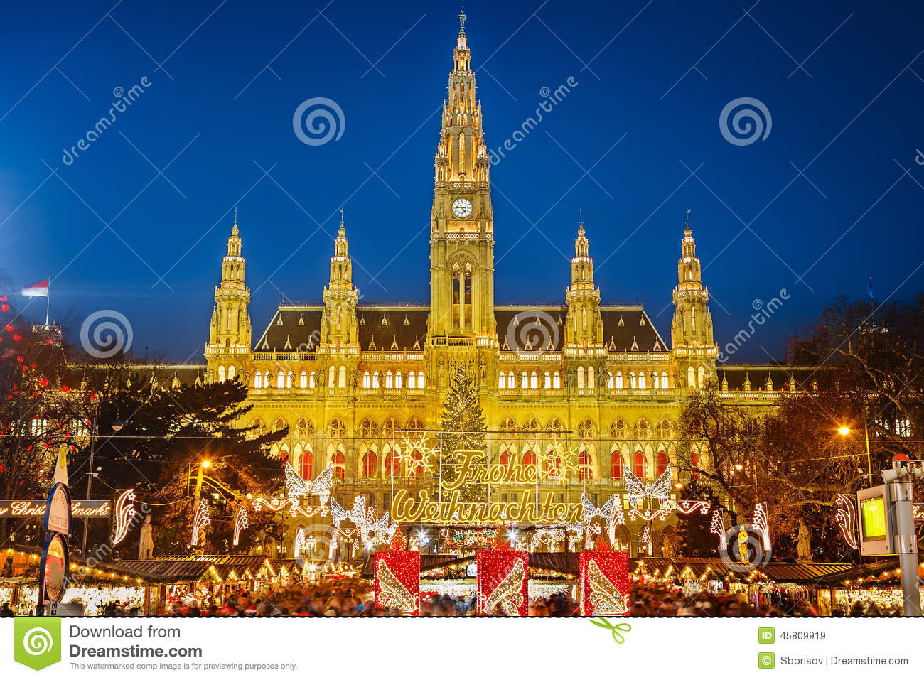 markt rathaus und des weihnachten in wien stockbild bild. Black Bedroom Furniture Sets. Home Design Ideas