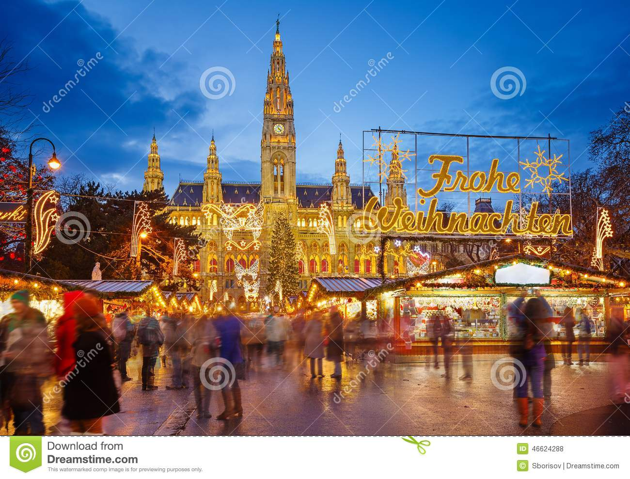 markt rathaus und des weihnachten in wien stockfoto bild. Black Bedroom Furniture Sets. Home Design Ideas