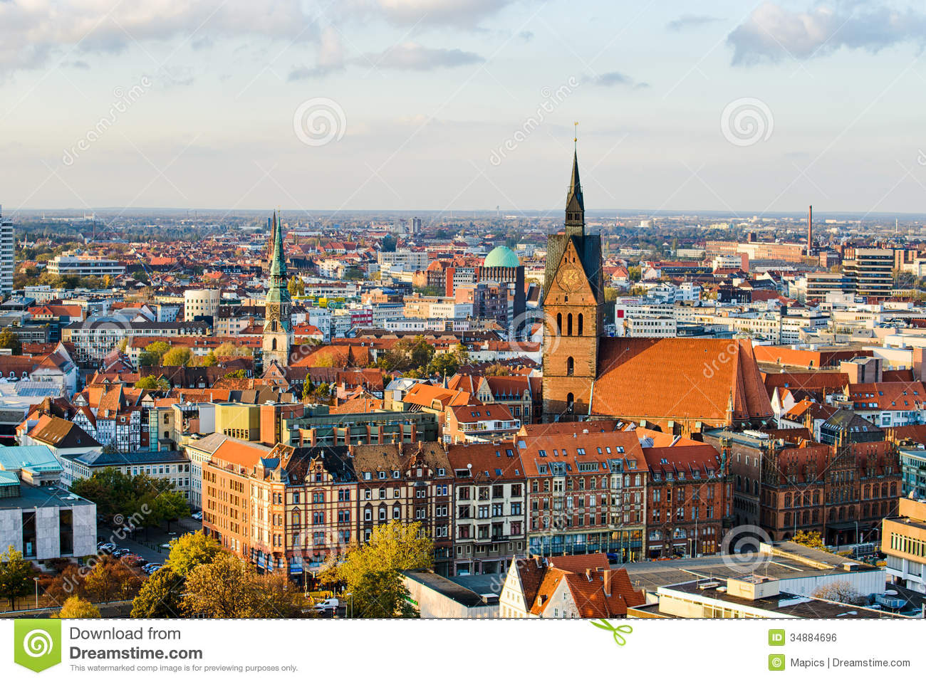Hannover Germany  city photo : Marktkirche And Hannover City, Germany Royalty Free Stock Image ...