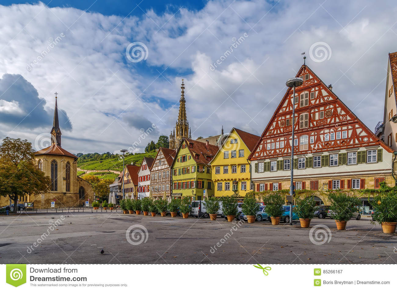 marktplatz quadrieren esslingen morgens neckar deutschland stockbild bild von historisch. Black Bedroom Furniture Sets. Home Design Ideas