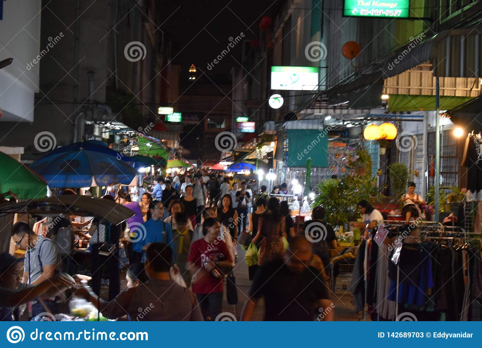 Marktstraat in Bangkok