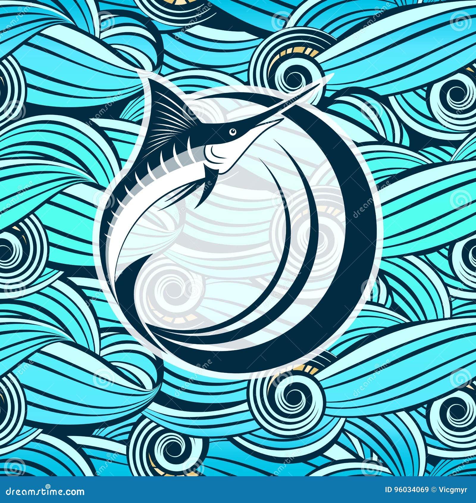 Marlin Fish Contro Lo Sfondo Delle Onde Stilizzate Del Mare
