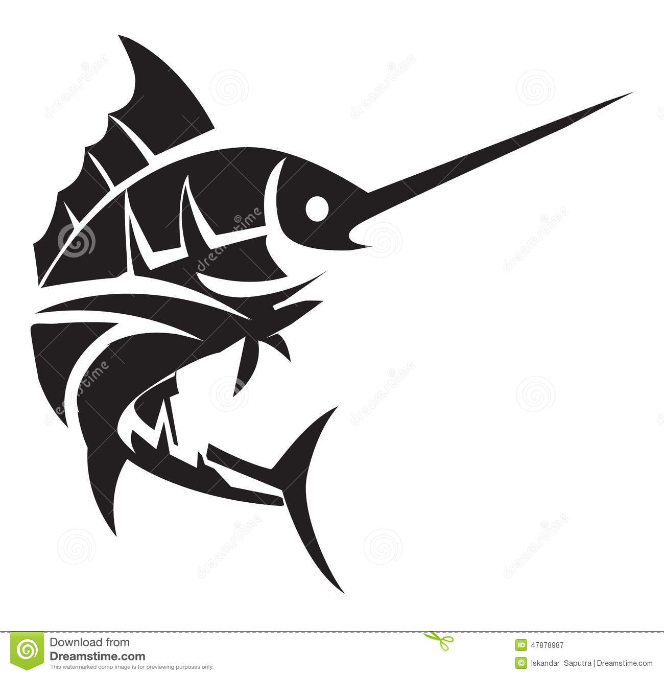 marlin fish tattoo stock vector image 47878987. Black Bedroom Furniture Sets. Home Design Ideas