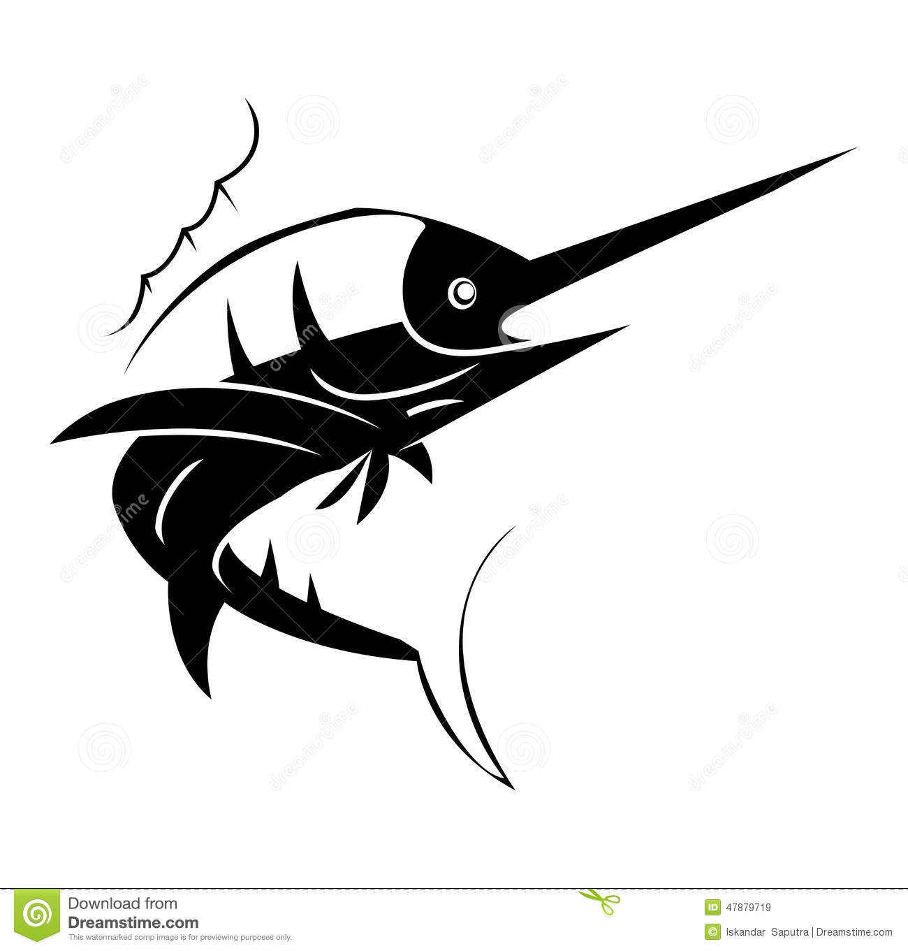 marlin fish tattoo stock vector image 47879719. Black Bedroom Furniture Sets. Home Design Ideas