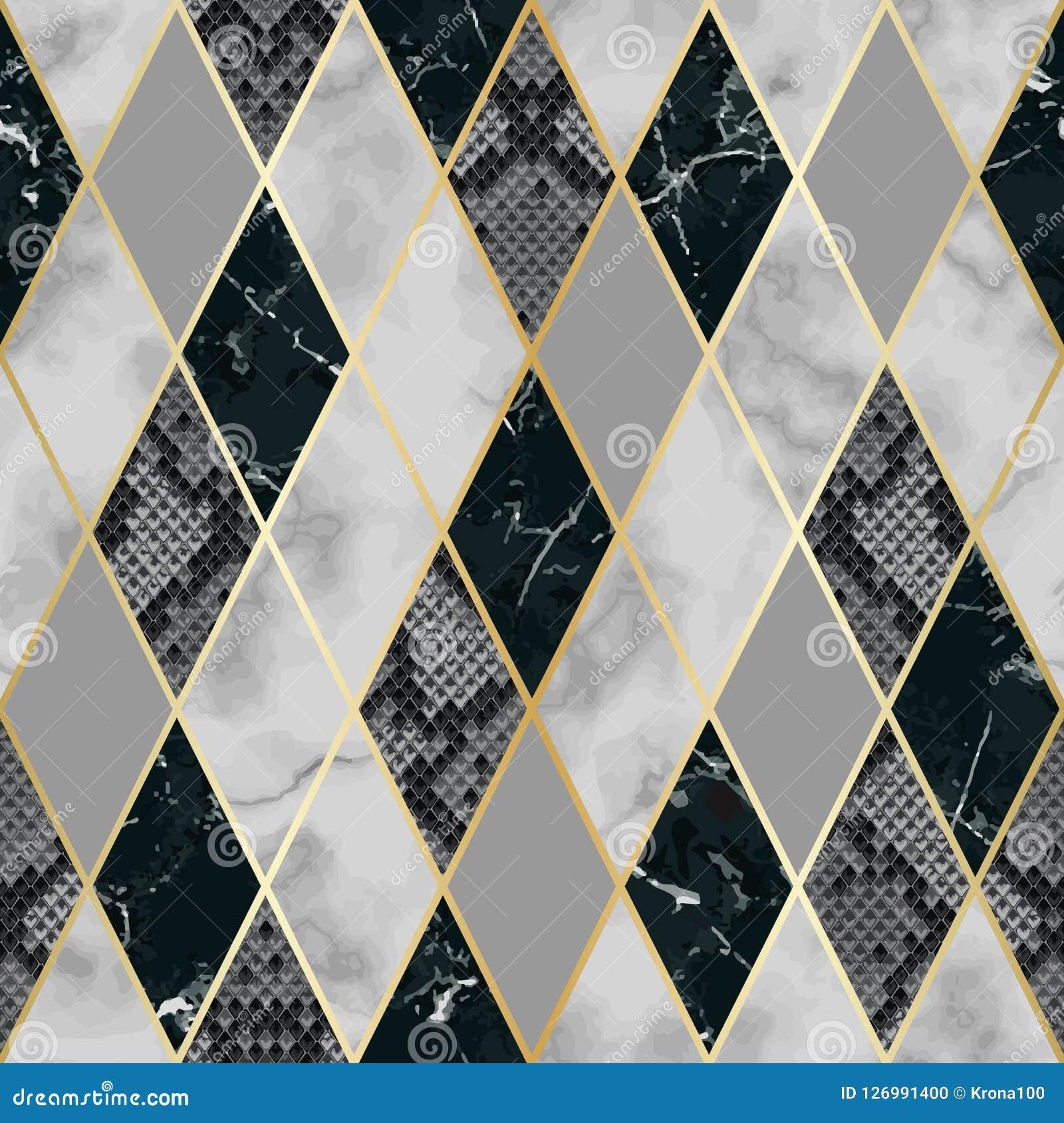 72ec72340f9f70 Marmer En Snakeskin-Luxe Geometrisch Naadloos Patroon Vector ...