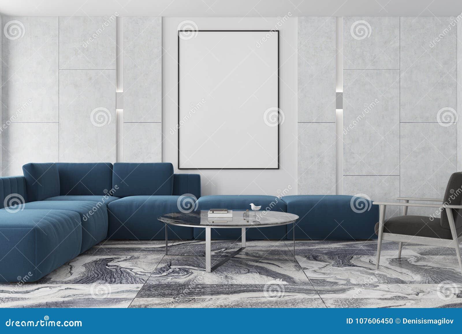 Blauwe Design Bank.Marmeren En Bruine Woonkamer Affiche Blauwe Bank Stock