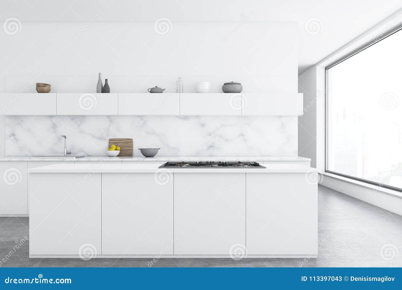Keuken Bar Muur : Marmeren keuken witte tellers bar stock illustratie
