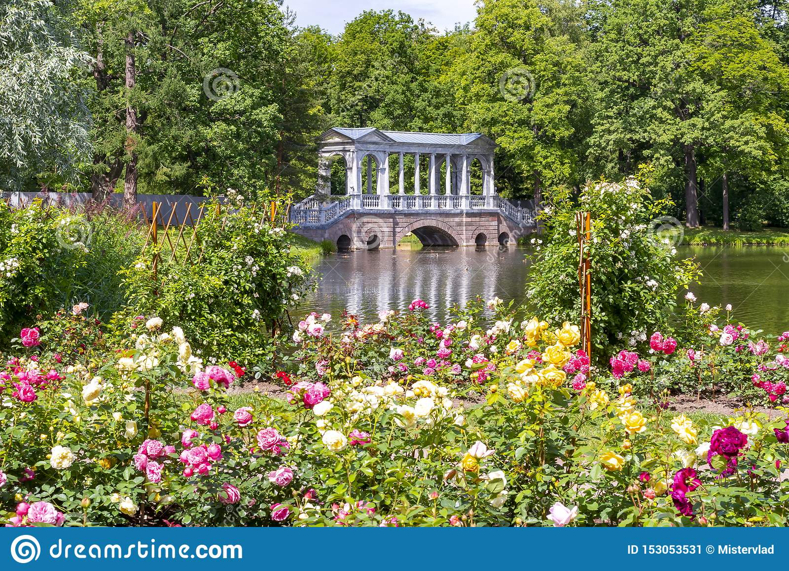 Marmorbron och blommor i Catherine parkerar, Tsarskoe Selo, St Petersburg, Ryssland