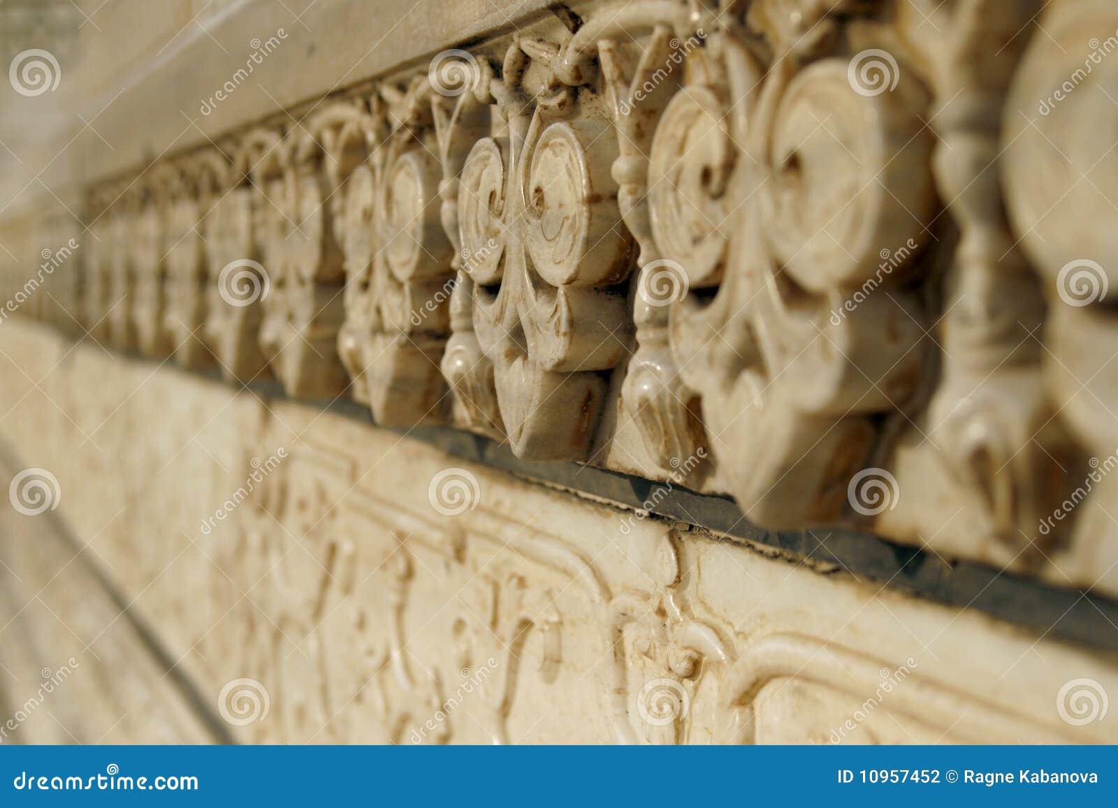 Marmorcarvings auf Moschee Taj Mahal, Agra, Indien