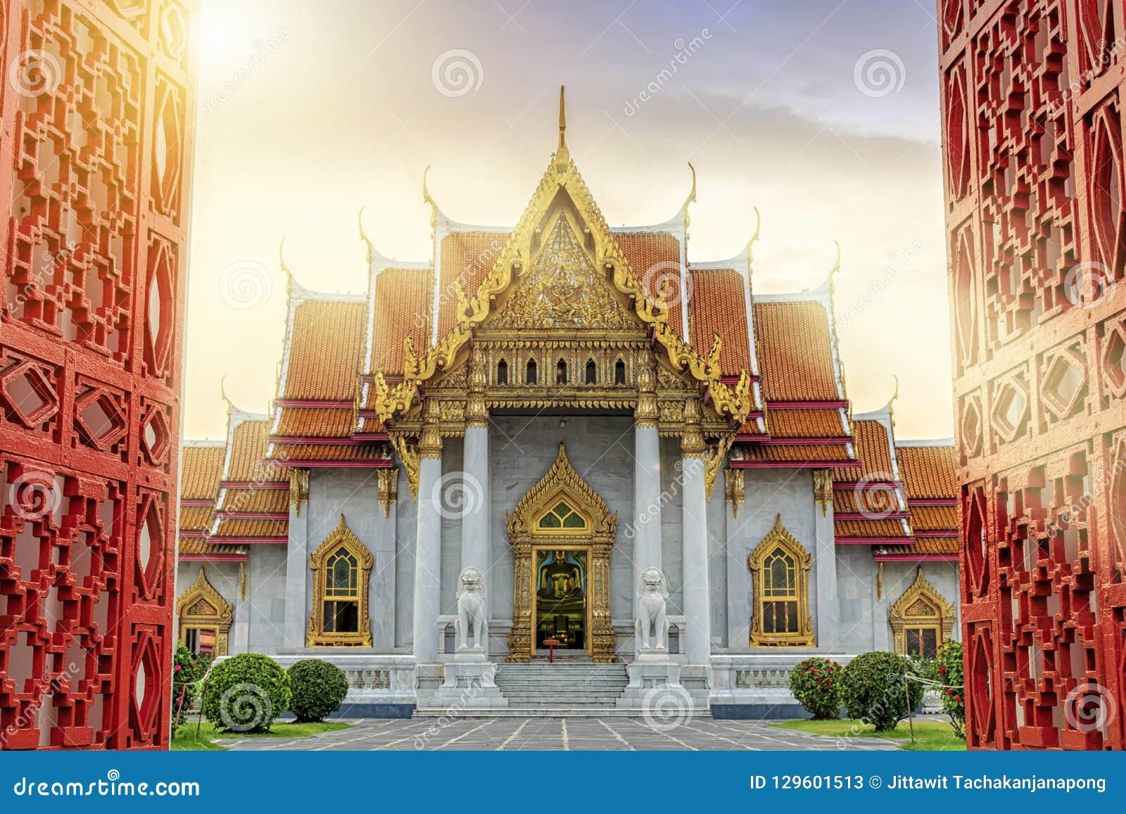 Marmurowa świątynia Bangkok, Tajlandia Sławny marmurowy świątynny Ben