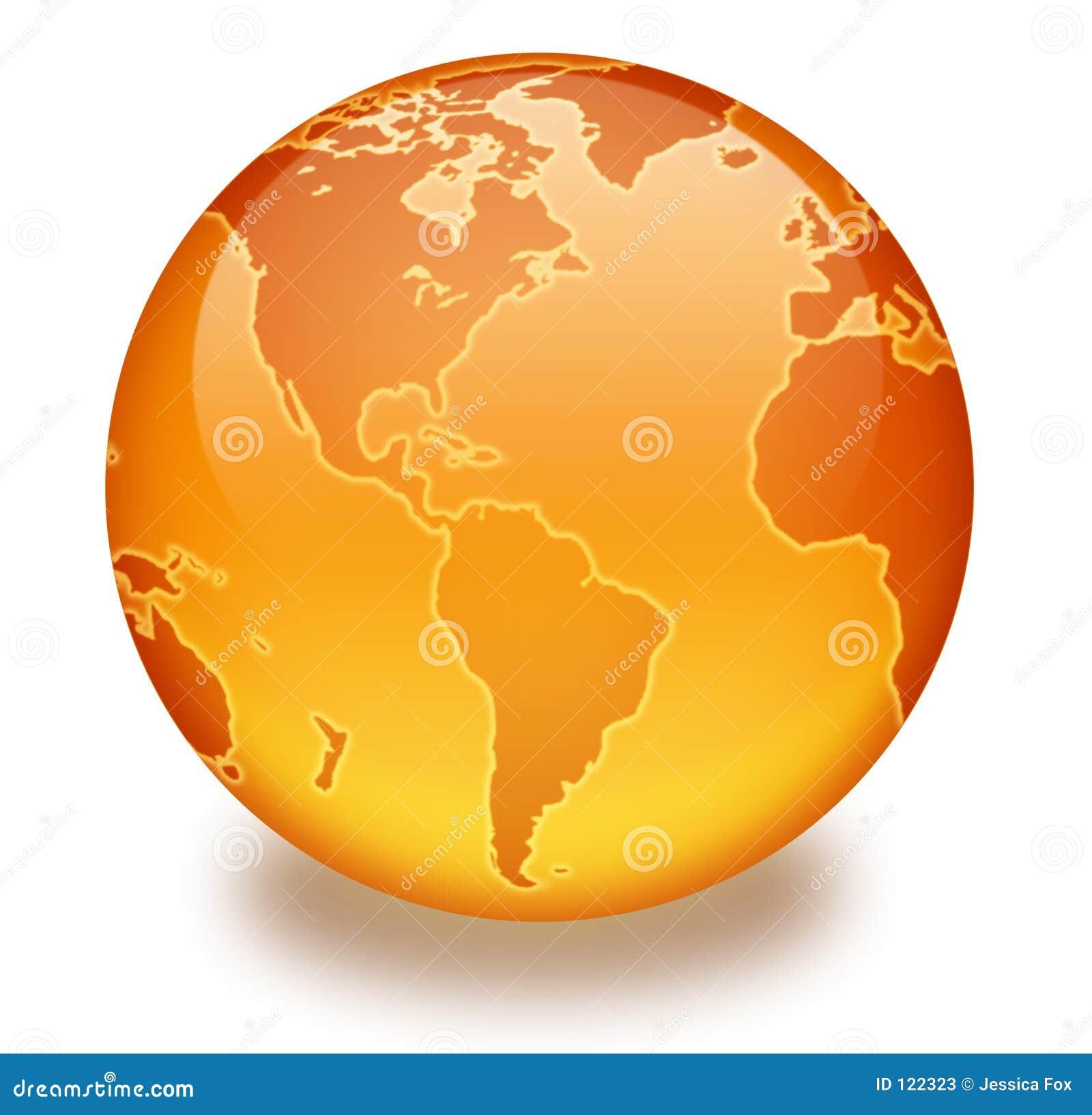 Marmurowa globu pomarańcze