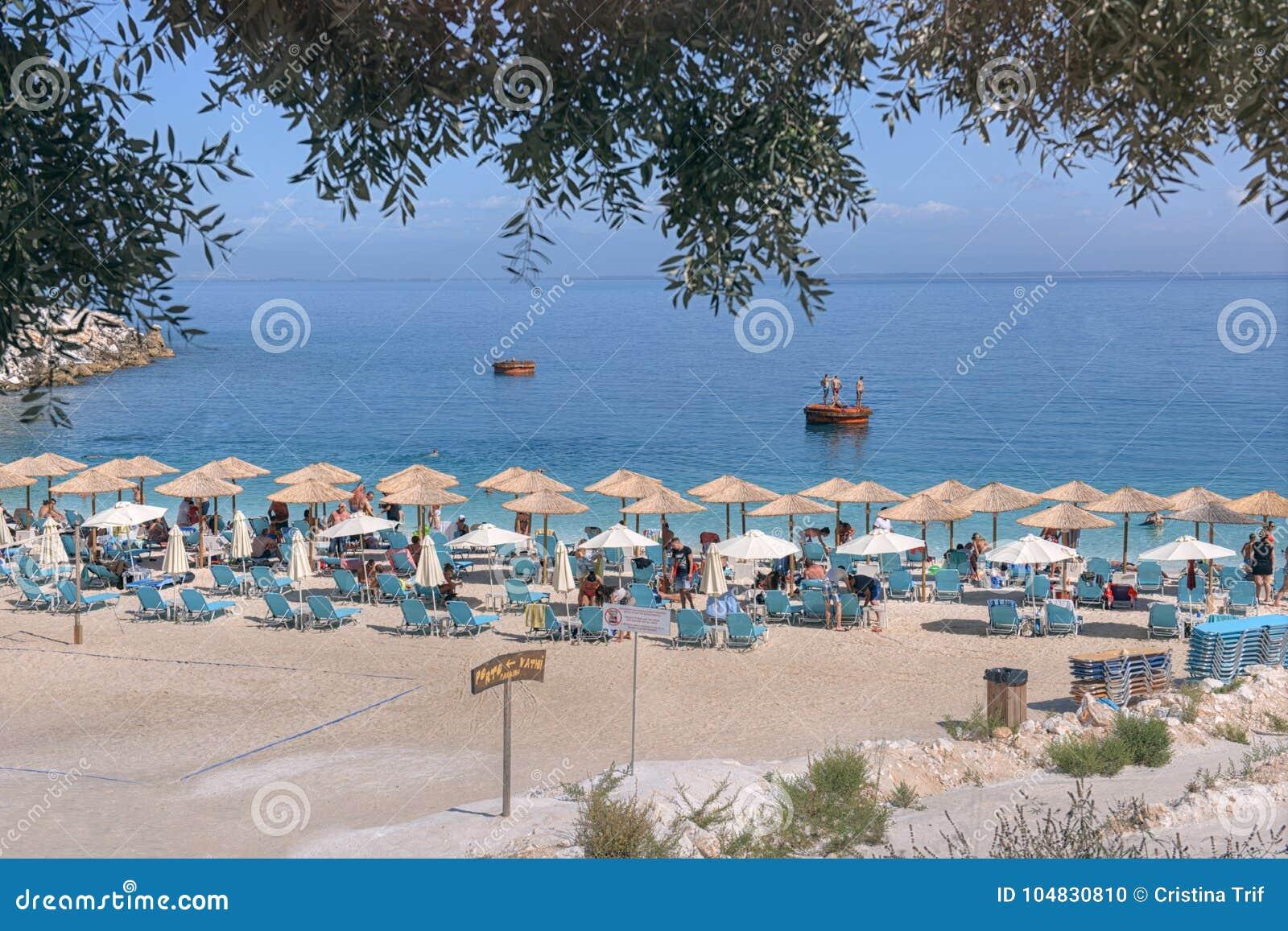 Marmurowa Plaża Thassos Wyspa Grecja Obraz Editorial