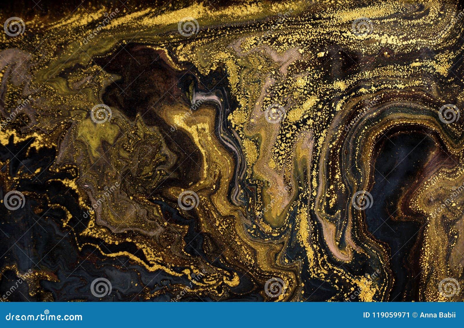 Marmurowy abstrakcjonistyczny akrylowy tło Marmoryzaci grafiki tekstura Agat czochry wzór Złoto proszek