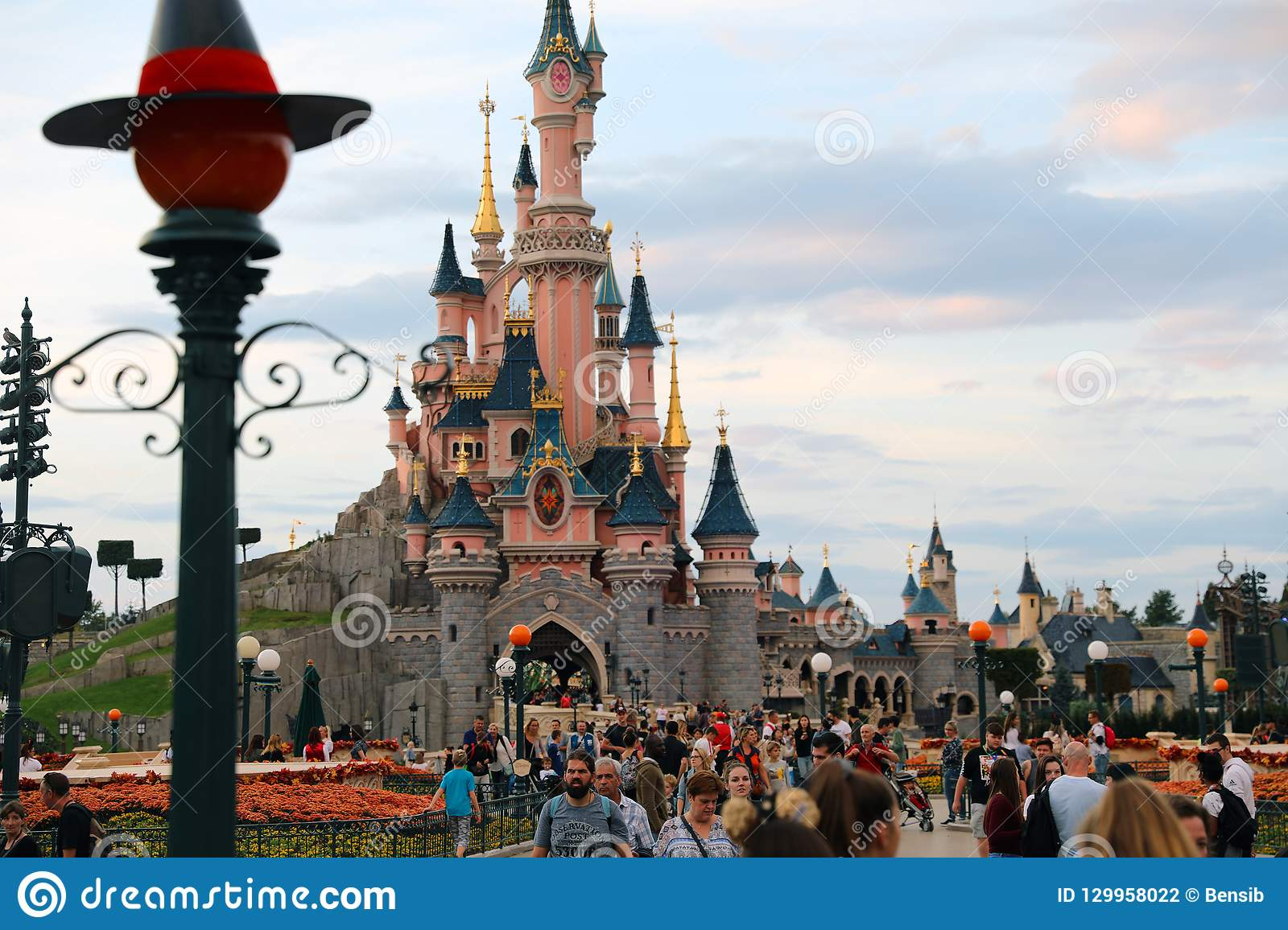 Disneyland Paris Halloween Decorations.Sunset At Sleeping Beauty Castle At Disneyland Paris With