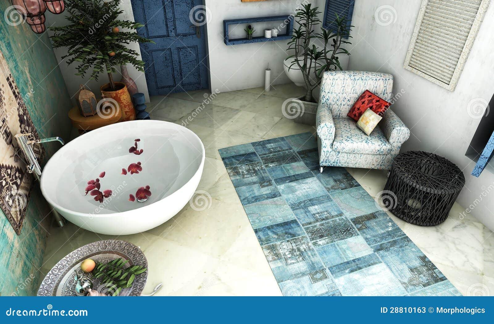 Röd matta i ljust badrum arkivbilder   bild: 36555604