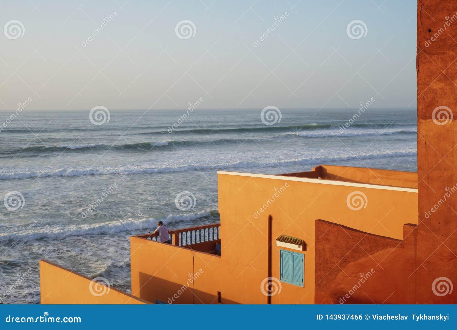 Marocko Atlantic Ocean strand på solnedgången Marrakesh