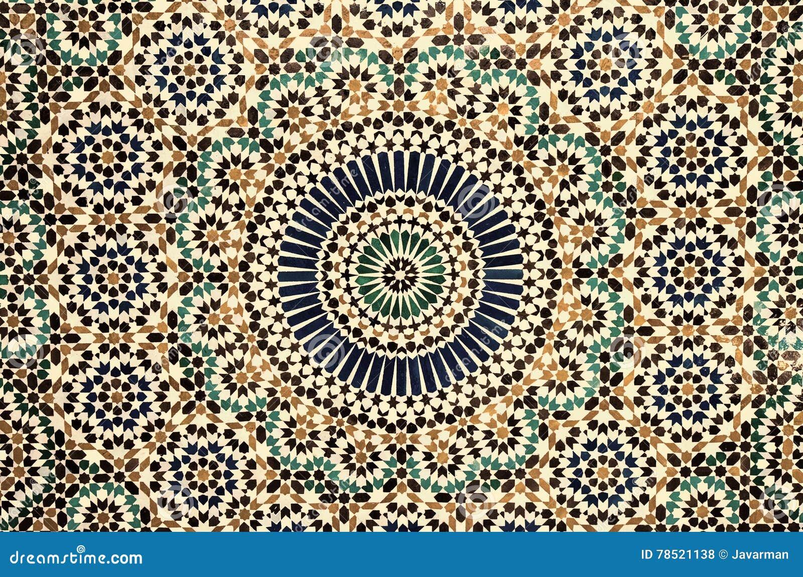 Marokkaanse uitstekende tegelachtergrond stock illustratie