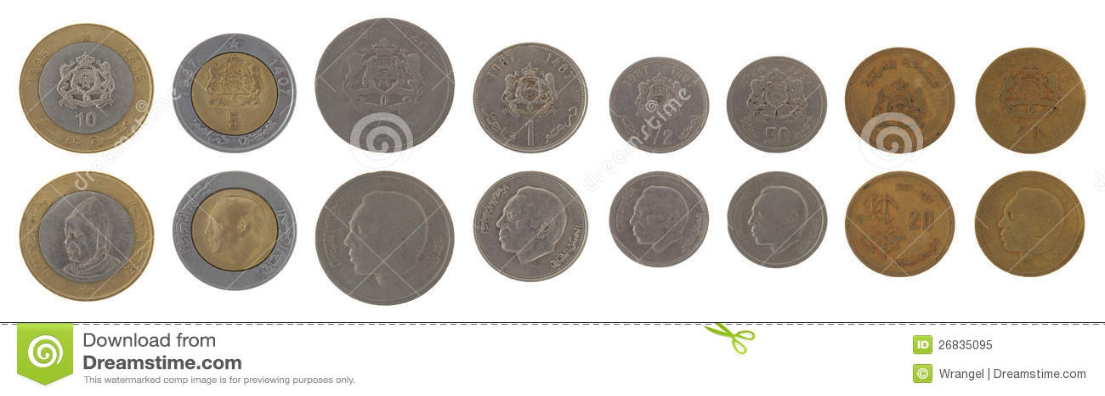 Marokkanische Münzen Getrennt Auf Weiß Stockbild Bild Von Metall