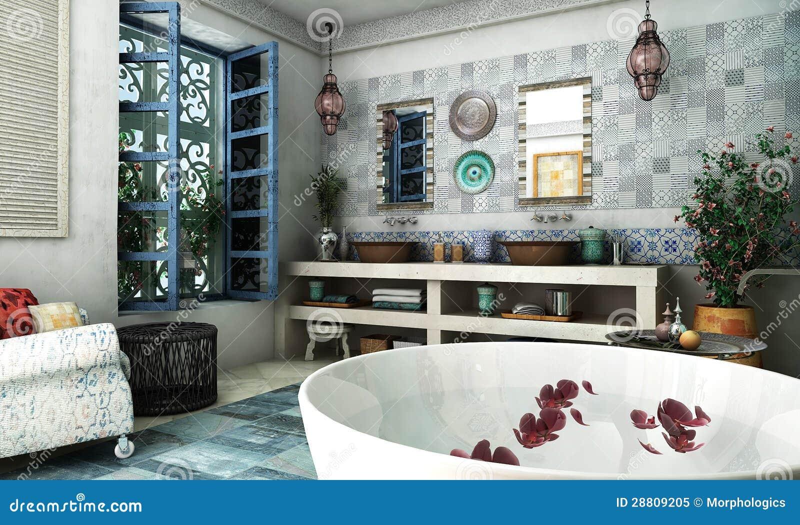 Marokkanisches Badezimmer stockbild. Bild von korb, stuhl - 28809205