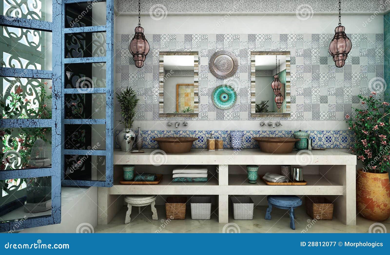 Marokkanisches Badezimmer stockbild. Bild von korb, feld - 28812077