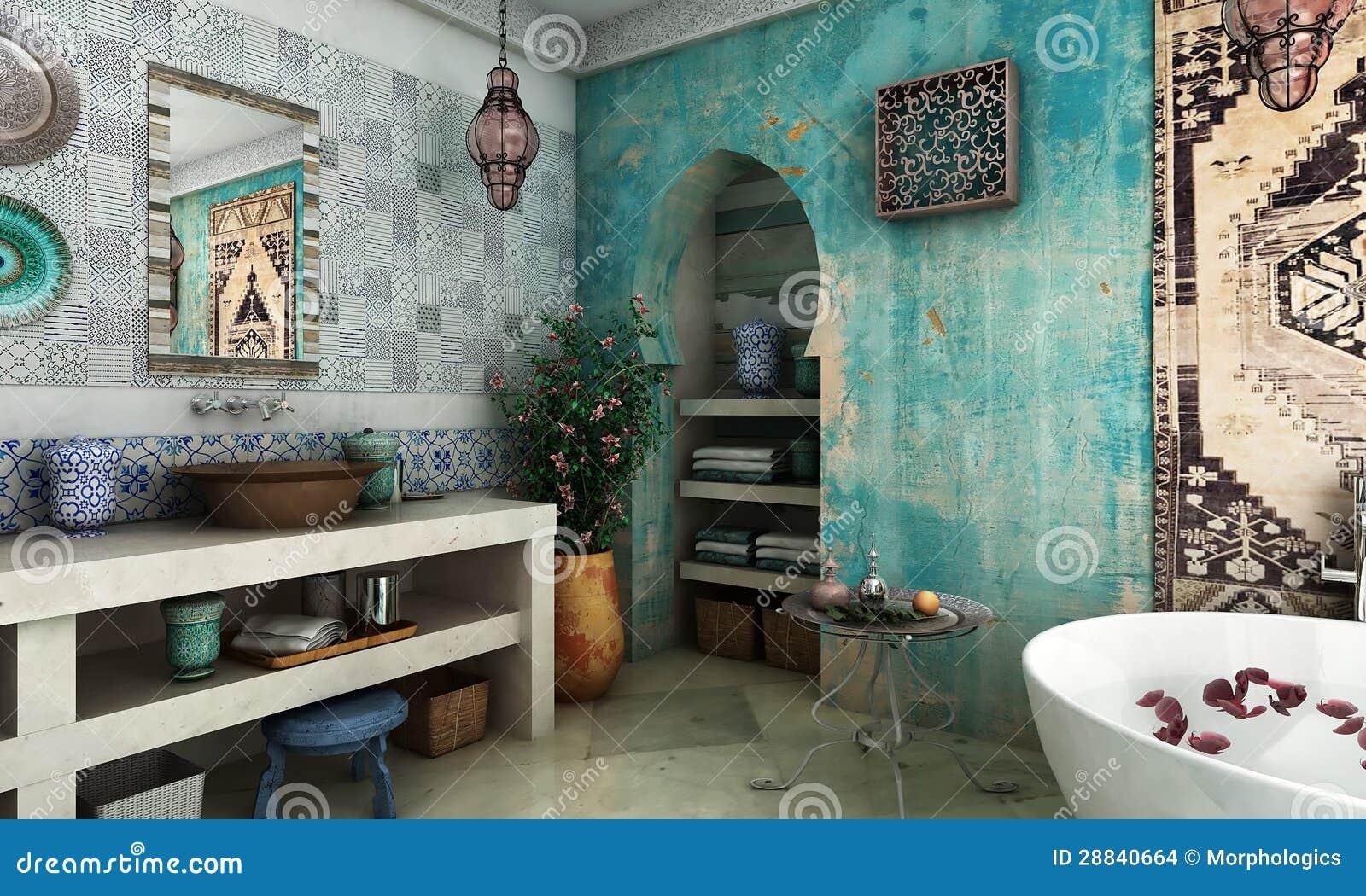 Marokkanisches Badezimmer stockfoto. Bild von braun, islamisch ...